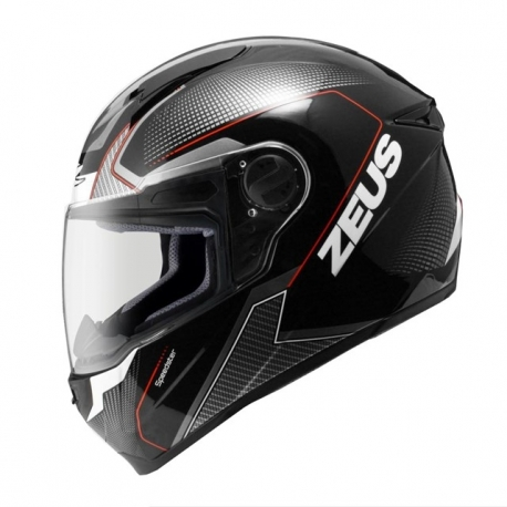 MOTORCYCLE HELMET ZEUS 811 AL6 BLACK WHITE RED