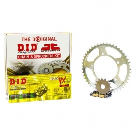 CHAIN AND SPROCKET KIT ΜΟΤΟ JT - DID FOR HONDA XLV 600 / 700 TRANSALP VX GOLD & BLACK X RING