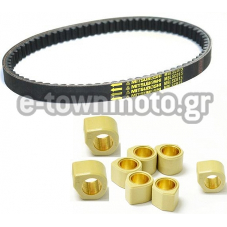 DRIVE BELT SCOOTER MITSUBOSHI & DR.PULLEY SR RACING VARIATOR ROLLERS 10gr FOR YAMAHA X MAX 250