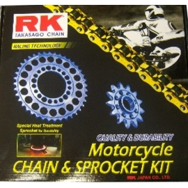 CHAIN AND SPROCKET KIT RK 525 GXW GOLD FOR HONDA CBF 600, CBF 600 N 2004-2007
