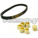 SET DRIVE BELT SCOOTER MITSUBOSHI MBLSC130 & DR. PULLEY RACING 25X22 18 gr ROLLERS FOR SYM CRUISYM 300